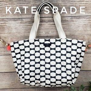 Kate Spade NY Bow Canvas Tote White Black Shopping